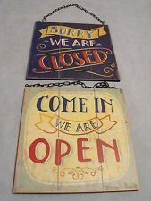 SHOP OPEN AND CLOSED SIGN SHABBY CHIC PUB BAR CAFE SHOP RETRO SHOP HANGING SIGN
