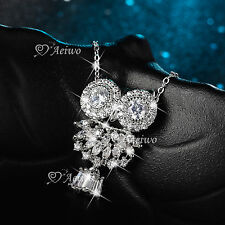 18K WHITE GOLD GF MADE WITH SWAROVSKI CRYSTAL PENDANT NIGHT OWL NECKLACE