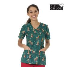 Christmas Print Scrubs - Womens Printed Top -Holly Jolly Xmas Nurse Scrub Design