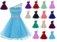 Short Beaded Homecoming Prom Dress Formal Party One Shoulder Bridesmaid Gown6-20