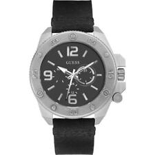 Mens Watch GUESS VIPER W0659G1 Multifunction Genuine Leather Black NEW Man