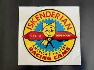 "#57 1960s Mid-size Water Decal ""Iskenderian""  (Isky Racing), Very Rare!"