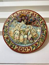 """""""Sowing Joy"""" Jim Shore Plate 2005 Christmas Angel Holiday Resin 3D Decorative"""