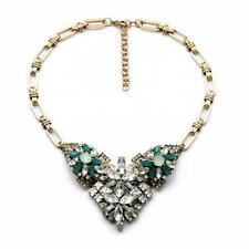 Collar Fino Triangle Flor Verde Cristal Retro Art Deco Original Matrimonio JCR 4