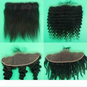 12A PERUVIAN VIRGIN LACE FRONTALS STRAIGHT/WAVY/CURLY EAR TO EAR 13X4 FAST SHIP