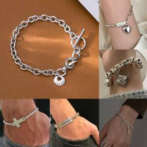 925 Silver Cross Heart Chain Link Bracelet Adjustable Bangle Women Men Jewelry