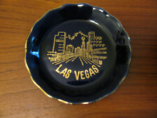 Vtg Las Vegas Souvenir Trinket Plate Tray Blue Gold Made in Japan Buy 1 or More
