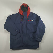 Nautica Sport Fleece Lined Full Zip Jacket LARGE Navy Red VTG 90s SPELL OUT