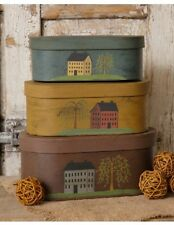 New Primitive Country House Willow Tree Oval Storage Nesting Stacking Boxes