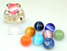 STERLING SILVER RING INTERCHANGEABLE 9 GLASS BEADS IN TENSION SETTING SIZE 7.5