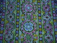Vintage Mid Century Sanderson Cotton Interiors Fabric 'Karnak' Stylised Daisies