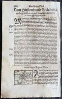 1574 Sebastian Munster Antique Print of The King of Wenden Voivodeship, Livonia