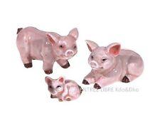 3 Miniatures en porcelaine _ COCHONS EN FAMILLE 3 à 5,5cm _ Figurines collection