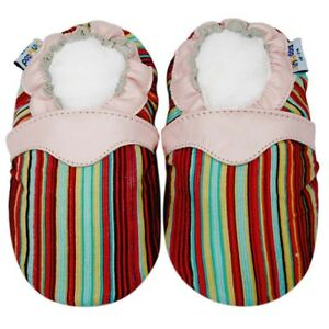 Soft Sole Leather Corduroy Baby Infant Kids Children Stripe Pink Shoes 12-18M