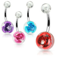 Metal Rose in 10mm Clear Acrylic Ball Surgical Steel Navel Belly Button Ring 14g