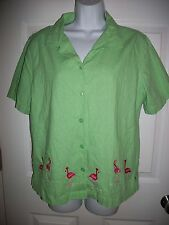 Kim Rogers Women's Green Linen Blend Pink Pelican Embroidery Shirt Size L