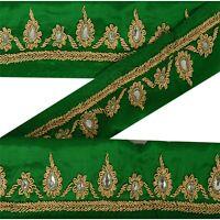 Sanskriti Vintage Decor Sari Border Hand Beaded Craft Trim Ribbon Green Lace