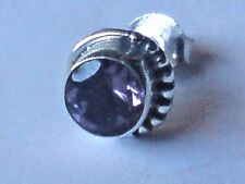 MENS SINGLE STERLING SILVER & AMETHYST  8mm.ROUND SMALL STUD EARRING  £5.50  NWT