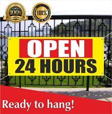 Open 24 Hours Banner Vinyl Mesh Banner Sign Many Sizes Flag Overnight Shop Cafe