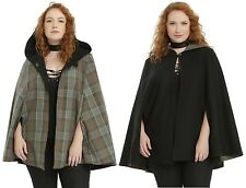 Outlander Claire Fraser tartan/black reversible hooded cape, Hot Topic, plus 2/3