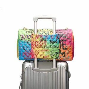 Large Travel Handbag Graffiti Multi-color Shoulder Bag Quilted Faux Leather Huge