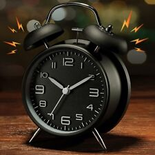 Alarm Clock Vintage Twin Bell Extra Loud Battery Analogy Backlight Bedroom Black