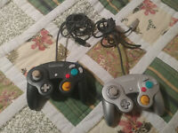 Nintendo Gamecube 2 Lot Silver Black Controller Gamepad For Parts