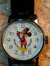 New listing Vintage Mickey Mouse Wind Up Watch w Orig Leather Band Box by Bradley 029S 1970s