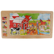 Wooden Puzzles 5-Layer Farm Animal Puzzle for Home or School Teaching Aids