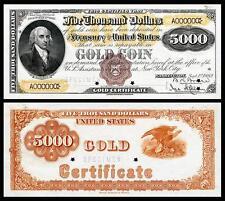 NICE CRISP UNC. 1882 $5,000 GOLD CERTIFICATE COPY NOTE! READ DESCRIPTION