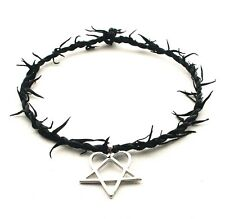 Heartagram Gothic HIM Metal Pewter Pendant LEATHER Necklace Choker ADJUSTABLE-UK