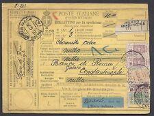 STORIA POSTALE REGNO 1926 Pacchi Postali 2,50L da Milano a Costantinopoli (E7)