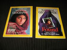 NATIONAL GEOGRAPHIC JUNE 1985 AFGHAN GIRL REFUGEE WITH HAUNTED EYES + APRIL 2002
