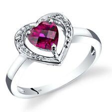 14K White Gold Created Ruby Diamond Heart Shape Ring 1 Carats Size 7
