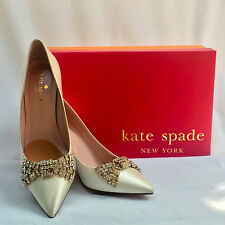 "Kate Spade New York | ""Pezz"" Ivory Satin Rhinestone Pump - 6M Pre-Loved Conditio"