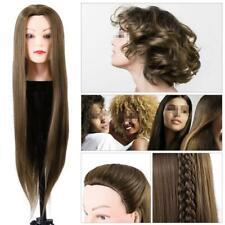"24"" Human Hair Mannequin Head Hairdresser Cosmetology Doll Manikin Training DIY"
