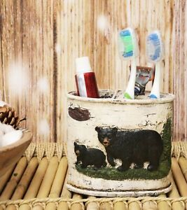 Rustic Black Bear in Pine Trees Forest Bathroom Toothbrush Toothpaste Holder