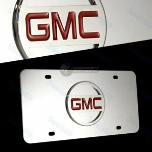 3D GMC Emblem Logo Front Mirror Stainless Steel License Plate Frame AUTHENTIC