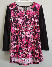 BNWT Ladies Sz 14 Eversun Brand Gorgeous Black Pink Floral Long Sleeve Tunic