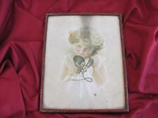 1930s ANTIQUE ORIGINAL FRAMED COLOR PRINT - LITTLE GIRL WITH TELEPHONE RECEIVER