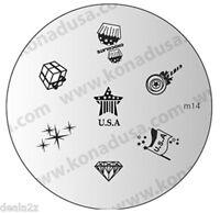 IMAGE PLATE M14 Konad Nail Art  Design for Nails USA FLAG STAR STRIPES PATRIOTIC