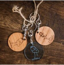 Drawing Keyring Featuring Your Child's Own Drawing. Stocking Fillers For Him.