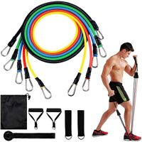 11 Piece Resistance Bands Set Workout YOGA Crossfit Stength Fitness Tubes Heavy