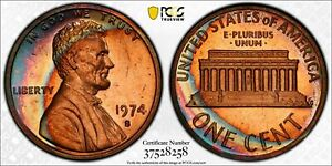 1974 s PCGS PR66RD MONSTER Colorful Toned Proof Lincoln Cent TrueView 18 FINER