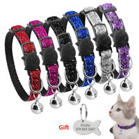 Bling Sequins Cat Breakaway Collars Quick Release Safety with Personalised Tags