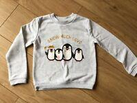 BNWOT Girls Primark Christmas Penguin Sweatshirt Jumper Age 5-6