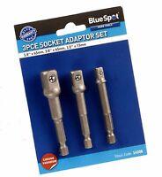 "3 Pce  Socket Adaptor Set - Hex Shank to 1/4 "" 3/8 "" 1/2 "" drive"