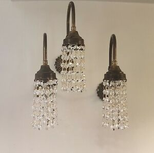 Trio 1960's Victorian Style Faux Gas Brass Wall Lights - Crystals 3 x Lights