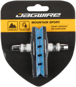 Jagwire Mountain Sport V-Brake Pads Threaded Post Blue All Weather Compound