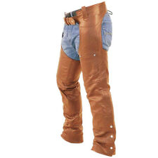 Mens Bikers Chaps Jeans Real Brown Leather Motorcycle Trouser Pants